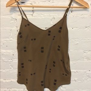 Wilfred Cropped Silk Camisole Army Green Size XXS